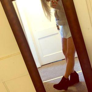 Stewart weitzman suede ankle wedge boots 7 black